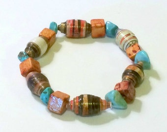 Orange Turquoise Colored Paper Bead Bracelet 1st Paper Anniversary Her Southwest Mom Boho Chic Stack Wife Unique Dainty Repurposed Recycled