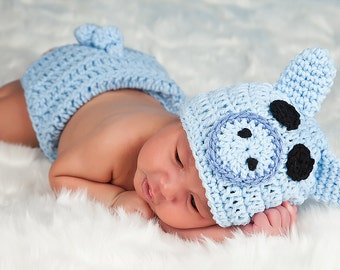 Crochet PINK or BLUE PIG Hat and Diaper cover set with Tail Boy or Girl  preemie newborn, 0-3 month, 3-6 month,6-12 month