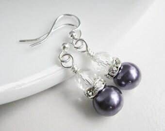Dark purple earrings, eggplant earrings, rhinestone dangle earings, lapis wedding, purple bridesmaids gift