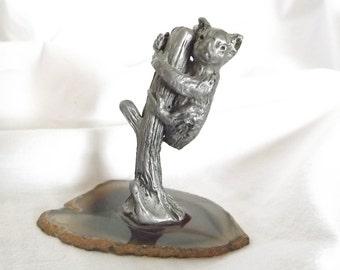 Vintage Koala Bear Pewter Koala Bear Figurine On Agate Base Miniature Koala Silver Toned Koala Collectible Koala Brown Agate Slice