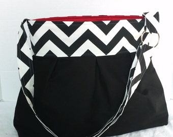 Diaper bag, purse large pleated- black  with black chevron and red cotton lining- bottle pockets and adjustable strap