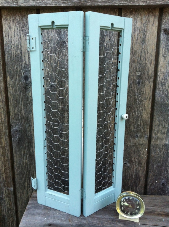 Upcycled Chalk Painted Wood Shutter Chicken Wire Home Decor