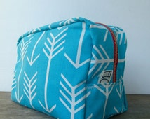 Turquoise Arrows Toiletry Bag, Bridesmaid Gift, Dopp Kit, Turquoise Arrows Travel Case, Turquoise Canvas Cosmetic Bag, Holiday Gift