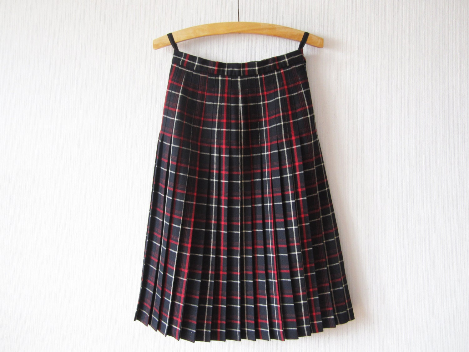 tartan plaid skirt pleated wool skirt blue white skirt