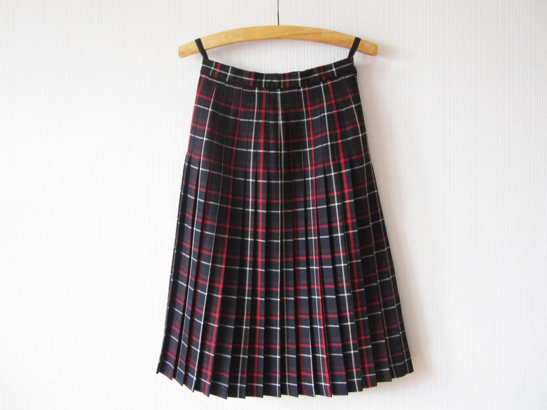 tartan plaid skirt pleated wool skirt blue white skirt