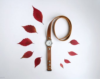 free shipping - amber chestnut ginger leather bracelet wrap around wrist with silver watch face