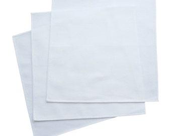 Large White Organic Cotton Handkerchiefs, 36cmx36cm (Set of 3)