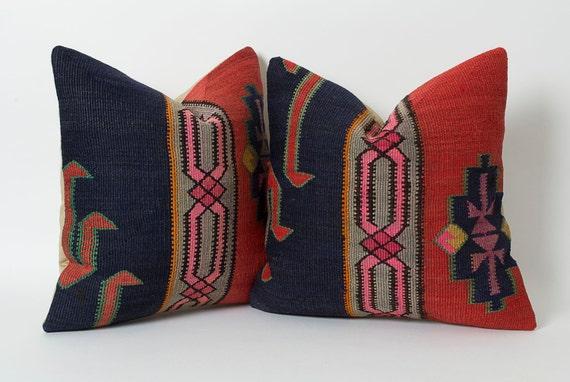 kilim pillow set of 2 decorative turkish kilim pillows red