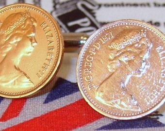 Boxed Pair Vintage British 1971 Half Pence Penny Coin Cufflinks Wedding 46th Birthday Anniversary
