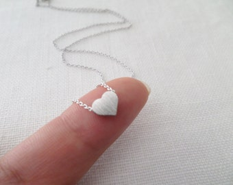 Silver heart necklace...dainty handmade necklace, everyday, simple, birthday,  wedding, bridesmaid jewelry