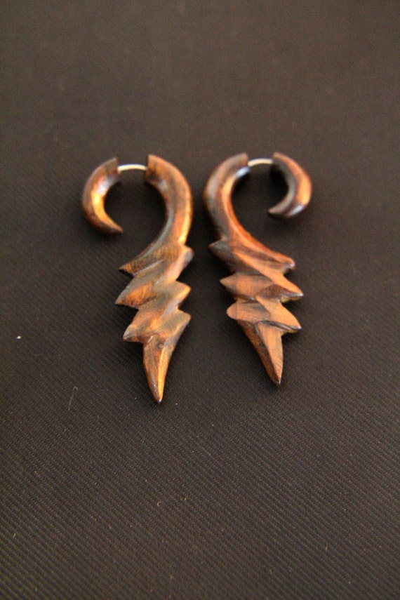 Thunder Fake Gauge Earring Handmade Fake Wooden Gauges