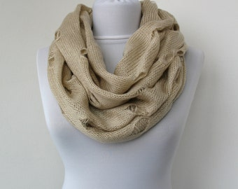 30% OFF SALE - Beige Knit Fabric Scarf - Infinity Scarf - Loop Scarf - Circle Scarf - Soft Scarf  - 671