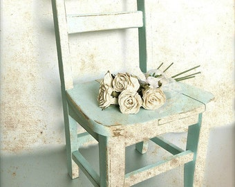 """Shabby Cottage Chic Print, Vintage Chair Art, Nursery Print, Old Chair, Child Chair, Aqua Rustic Farmhouse, Warm Country Kitchen- """"Time Out"""""""