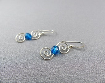 Wire Work Double Swirl Earring Sterling Silver with Bead - Wire Work Classic Earring - Swirly Dangle Earrings - Wire Swirl Earrings