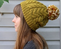 Wool & Acrylic Blend Yarn / PomPom Hat / Pom Pom Hat / Slouchy Beanie /Toque/ Cable Knit / Olive / Pear Green / Moss / Grass / Brown Green