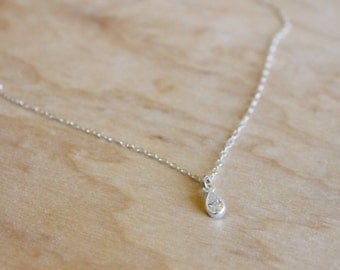 Tiny Crystal Necklace - Sterling Silver Necklace - Cubic Zirconia - Gift for Her- Bridesmaids Jewelry - Thin Layering Necklace - Tear Drop