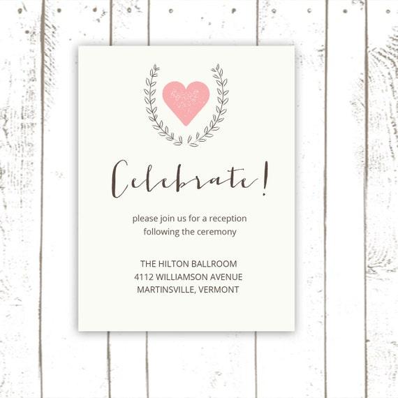 Wedding Reception Card Enclosure Cards Simple By MooseberryPaperCo