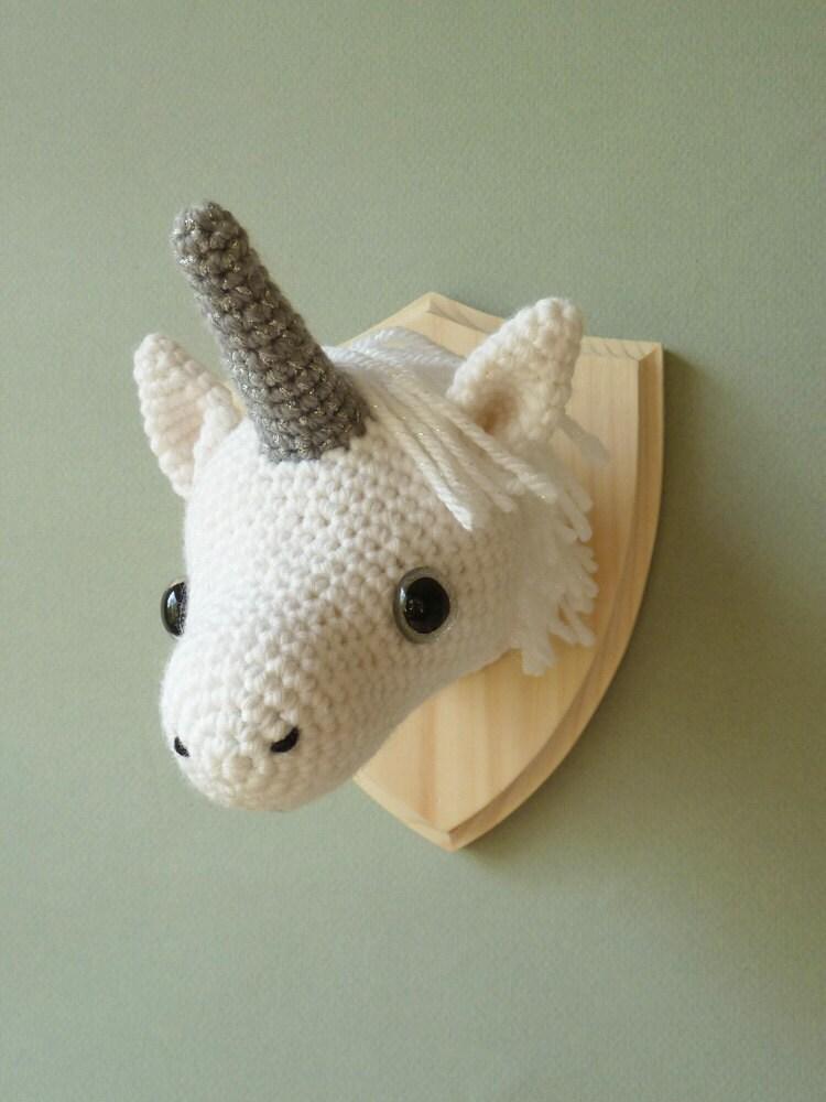 Unicorn Taxidermy Crochet Mounted Unicorn Head Faux
