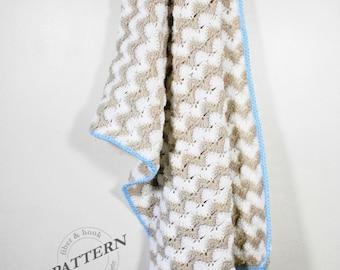 CROCHET PATTERN - Crochet Chevron Blanket Pattern, Baby Blanket Pattern, Chevron Blanket Pattern, Crochet Shells, Crochet Ripple, pdf #020A