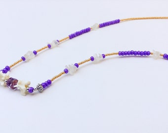 Bone jewelry, beaded animal bone necklace, bohemian gold and violet purple bead strand necklace with moonstone and ball python vertebrae
