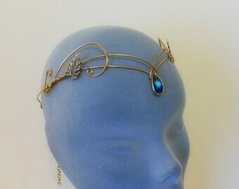 Medieval crown headpiece tiara fantasy wedding circlet forehead jewellery GOLD bermuda
