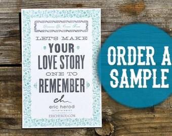 Order a Sample - Letterpress Promotional Business Flyer - Wedding Invitation - Custom Invite Announcement - Unique Hand Printed Vintage