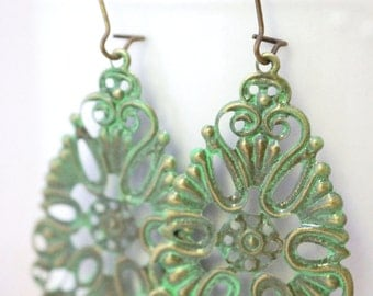 Earrings, Green patina filigree vintage brass finish No. E29