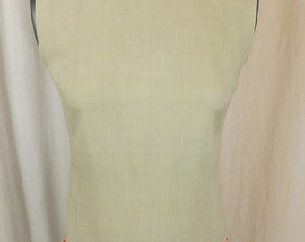 1960s beige rayon beaded sleeveless blouse