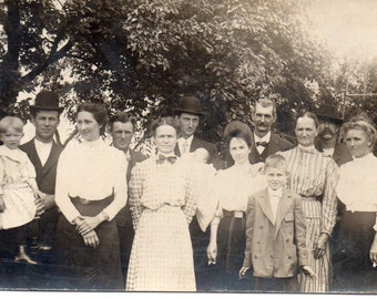 Antique RPPC of Large Family