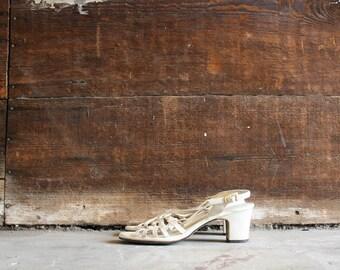 vintage 50s cream weave heels   womens size 5.5