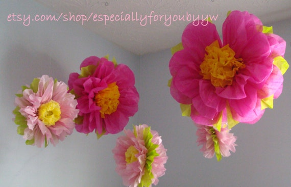 1st Birthday Decorations 5 Tissue Paper Pom Poms Flowers Perfect