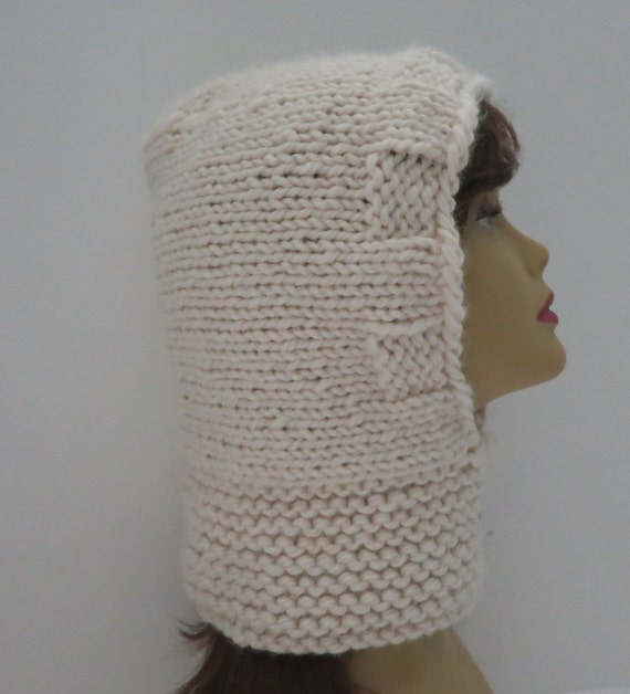 Knitting Pattern For Hood Hat : Hat Knitting Pattern Hooded Cowl Winter Hat