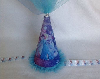 Elsa (Frozen) Inspired Birthday Party Hat (Free Personalization)*Speciality Fabric Used
