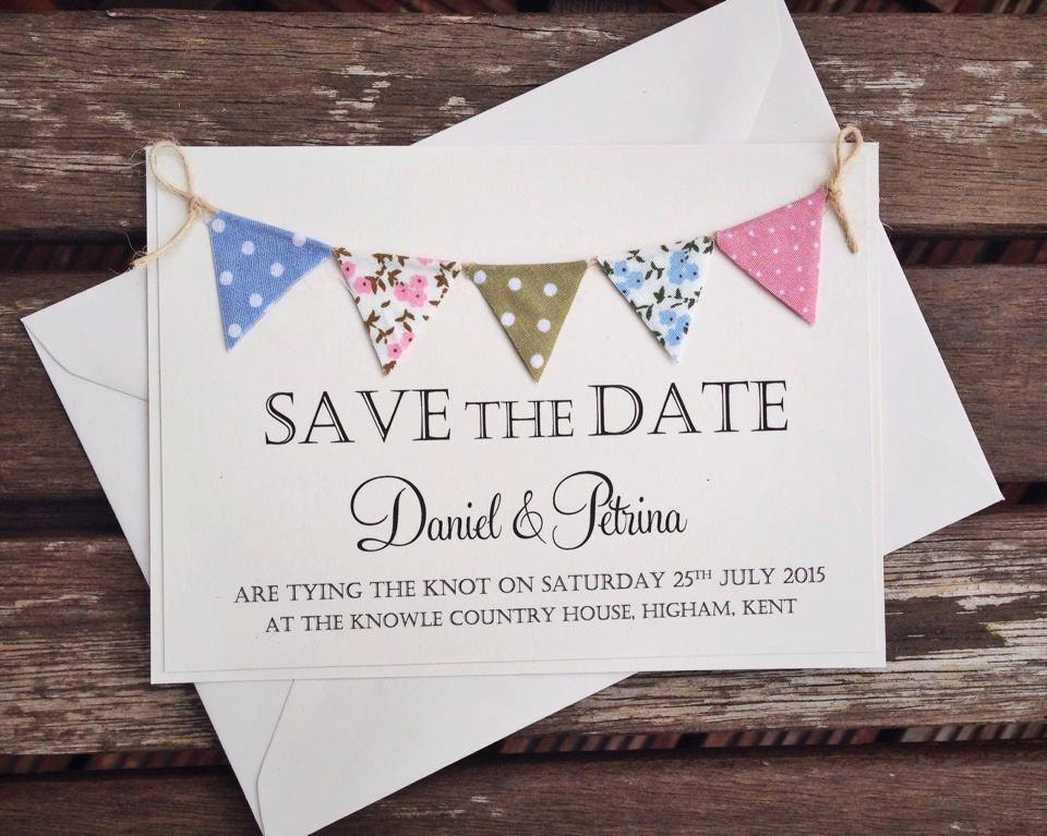 The Knot Addressing Wedding Invitations: Bunting Save The Date Wedding Invitation Ivory Card With