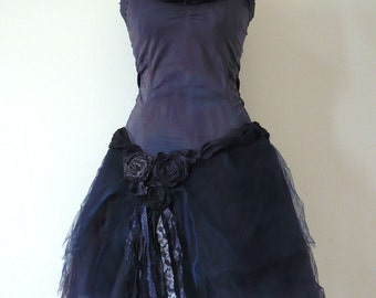 Short Prom Dress Rag Broken Doll Bride Tattered Dyed Blue Mesh Tulle Tutu Layered Dress Tutu Wedding Costume Dancing Party (Custom Order)