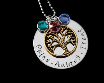 Family Tree Necklace - custom personalized name necklace with Swarovski Birthstones and tree charm - Mothers necklace - family