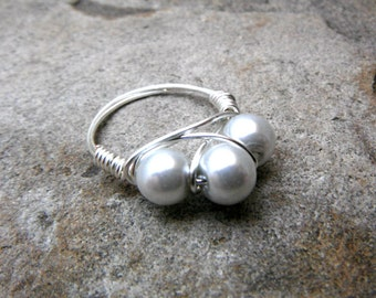 Silver Pearl Ring, Gray Pearl Ring, Wire Wrapped Ring, Silver Ring, Wire Wrapped Jewelry Handmade, Silver Ring, Gray Ring