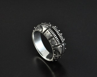 "Silver Steampunk Industrial Contemporary Ring ""Odum 2"" 