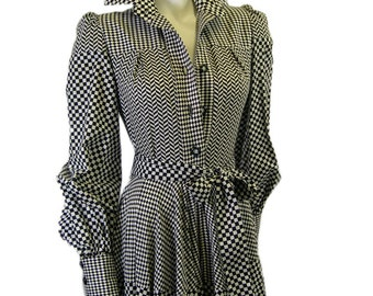 "Vintage Jean Varon ""Checker-board"" Printed Dress 1970s"