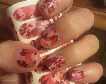 18 PINK CAMO Nail Art Decal Sets (CM3X2) Camouflage Nails Transparent Colors Waterslide Stickers