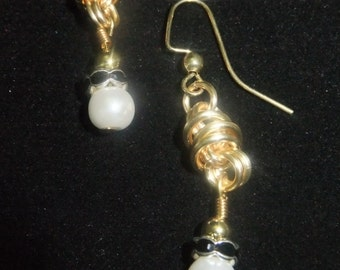 Gold Coil Drop Earrings with White and Black