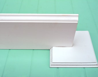 Set of 2 Baseboard Holders - Photography Backdrop Baseboard Holders - White Wood Baseboard Stand