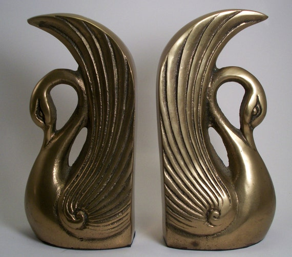 vintage brass swan bookends made in korea by 2sisterspicks