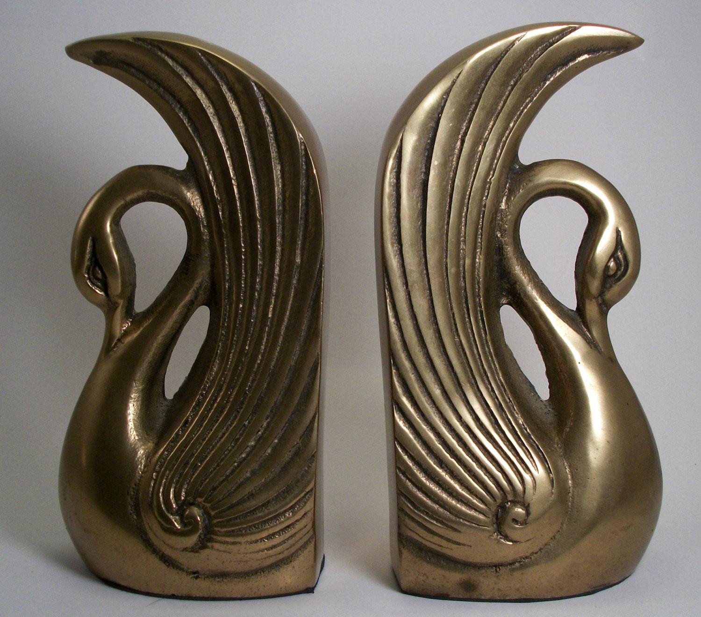 vintage brass swan bookends made in korea by 2sisterspicks