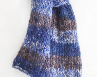 "Handknit scarf, 56"" long, blues and brown stripes"