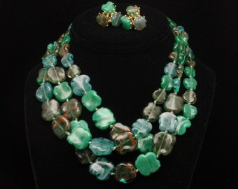 Vogue Set Vintage Triple Strand Necklace & Earrings Shades of Green