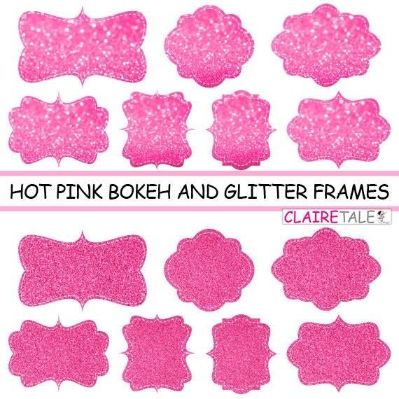 "Digital clipart labels: ""Hot PINK  BOKEH & GLITTER frames"" bokeh and glitter clipart frames, labels, tags on hot pink background"