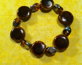 Brown Porcelain and Glass Beaded Stretch Bracelet