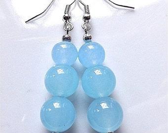 Dangle earrings, Gem stones, pale blue jade for pierced ears.