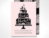 Chic Cake Bridal Shower Invitation, High Tea Bridal Shower, Retro Bridal Shower - Pink and Black - Printable or Printed